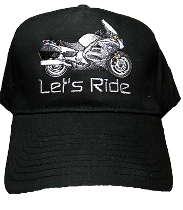 Black Hat with ST1300 embroidered motorycycle on the front